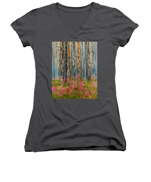 After Forest Fire Women's V-Neck T-Shirt