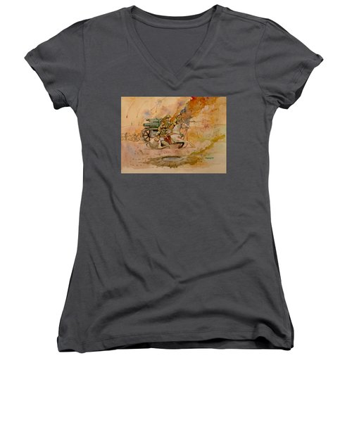 Women's V-Neck T-Shirt (Junior Cut) featuring the painting After The Charge by Ray Agius