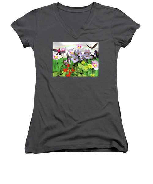 After The Rain Comes The Rainbow Women's V-Neck T-Shirt (Junior Cut) by Michele Wilson