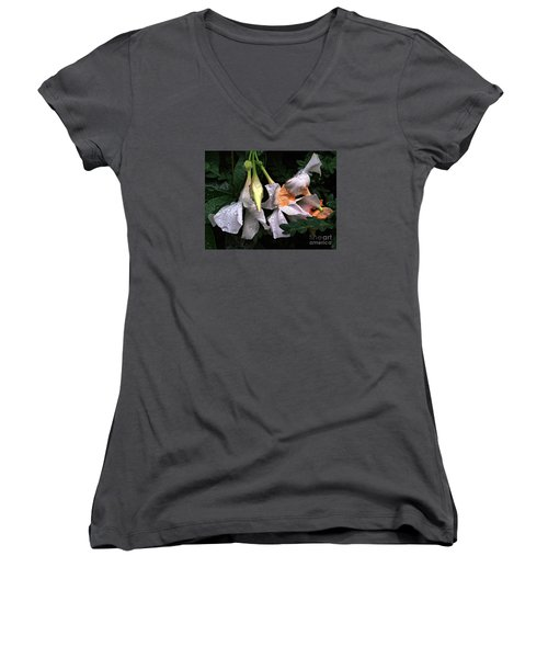 After The Rain - Flower Photography Women's V-Neck T-Shirt