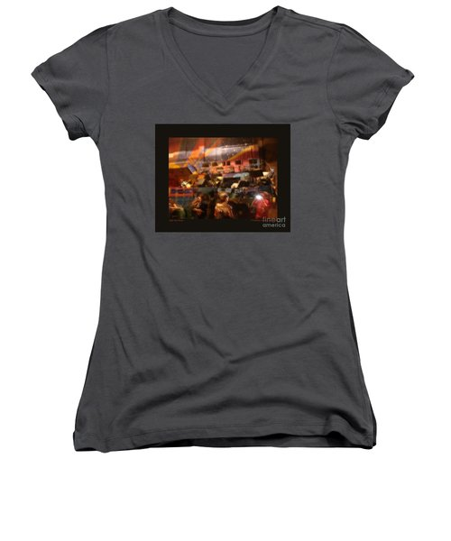 Women's V-Neck T-Shirt (Junior Cut) featuring the photograph After The Show by Patricia Overmoyer