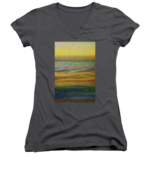 Women's V-Neck T-Shirt featuring the photograph After The Sunset - Yellow Sky by Michelle Calkins
