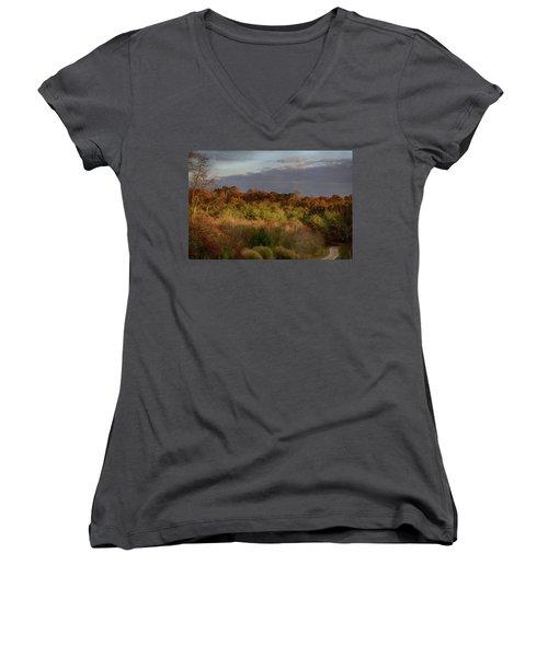 Afternoon Glow In Hocking Hills Women's V-Neck T-Shirt (Junior Cut) by Haren Images- Kriss Haren