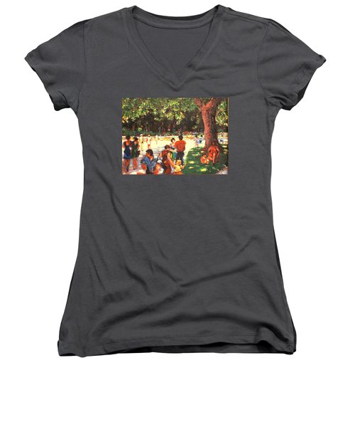Women's V-Neck T-Shirt (Junior Cut) featuring the painting Afternoon In The Park by Walter Casaravilla