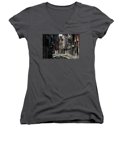 Women's V-Neck T-Shirt featuring the photograph Afternoon In Venice by Alex Lapidus