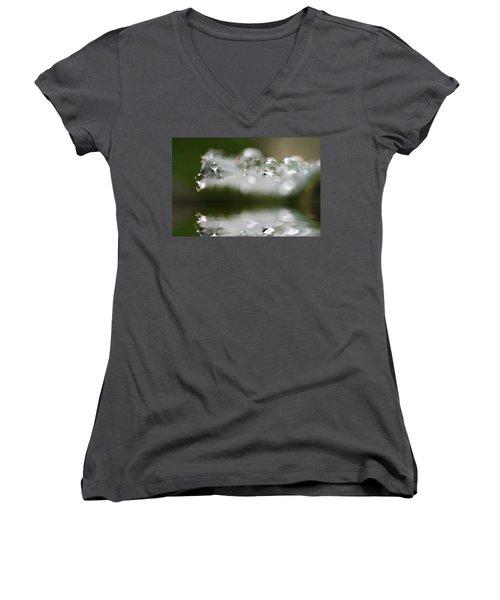 Afternoon Raindrops Women's V-Neck T-Shirt (Junior Cut) by Kym Clarke