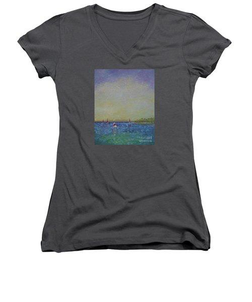 Afternoon Sailing Women's V-Neck T-Shirt (Junior Cut) by Gail Kent
