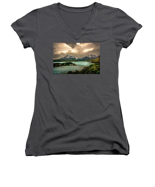 Women's V-Neck T-Shirt (Junior Cut) featuring the photograph Afternoon Storm by Andrew Matwijec