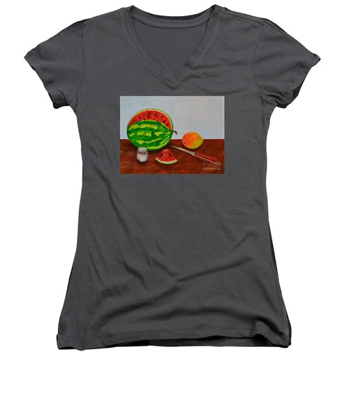 Afternoon Summer Treat Women's V-Neck T-Shirt (Junior Cut) by Melvin Turner