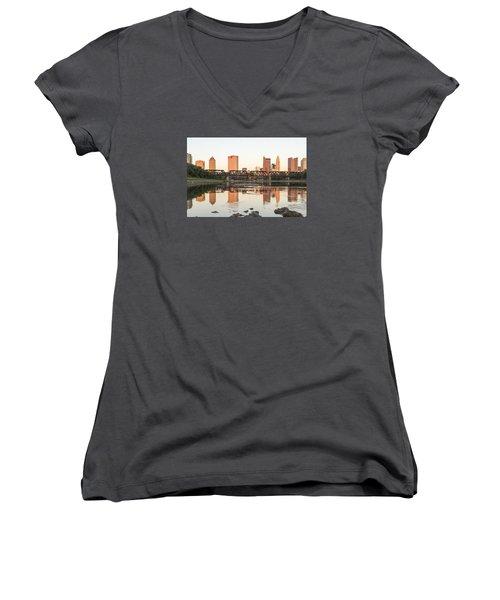 Afternoon Sun Columbus Women's V-Neck T-Shirt (Junior Cut) by Alan Raasch