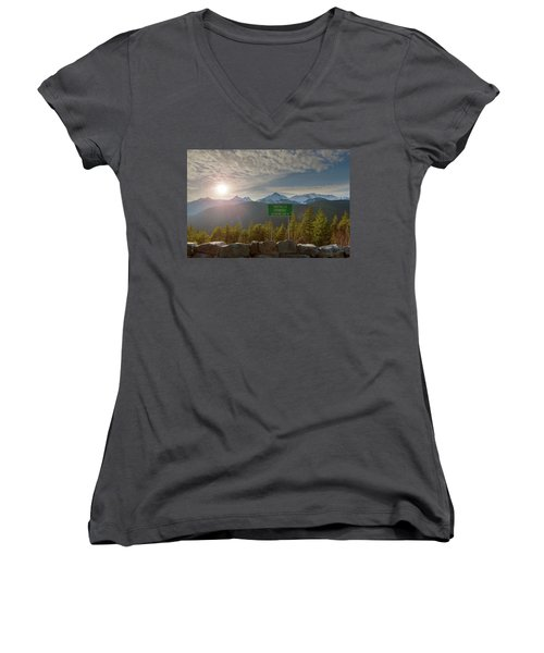 Afternoon Sun Over Tantalus Range From Lookout Women's V-Neck (Athletic Fit)
