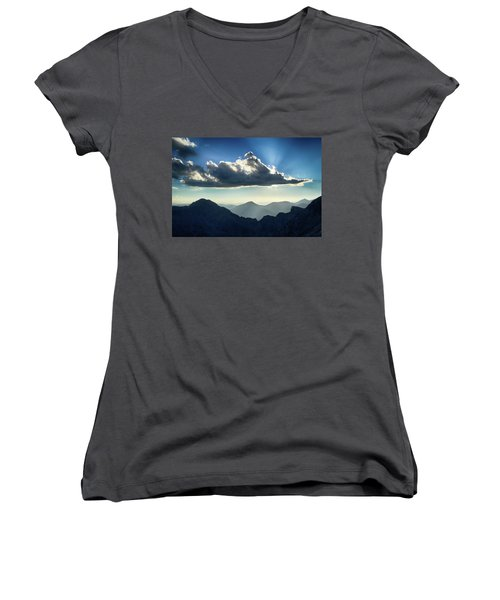 Women's V-Neck T-Shirt (Junior Cut) featuring the photograph Afternoon Sunburst by Marie Leslie