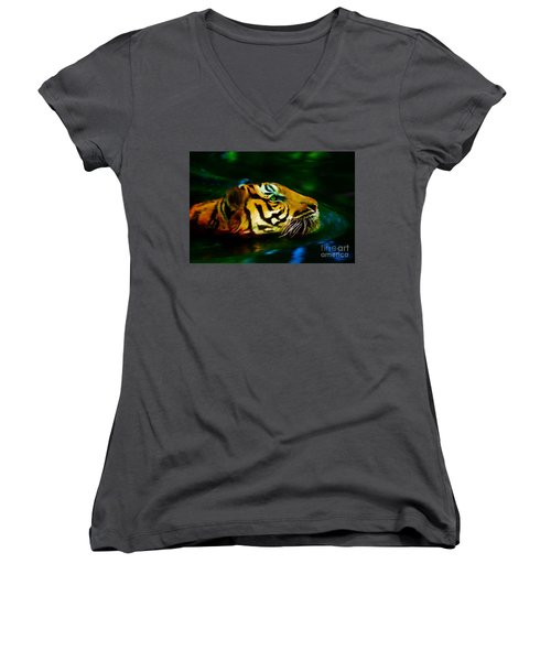 Afternoon Swim - Tiger Women's V-Neck (Athletic Fit)