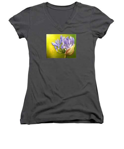Women's V-Neck T-Shirt (Junior Cut) featuring the painting Agapanthos by Natalia Tejera