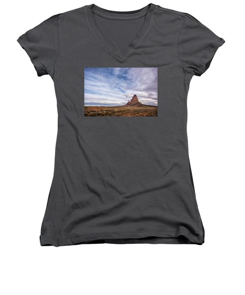 Women's V-Neck T-Shirt (Junior Cut) featuring the photograph Agathla Wakes Up by Jon Glaser