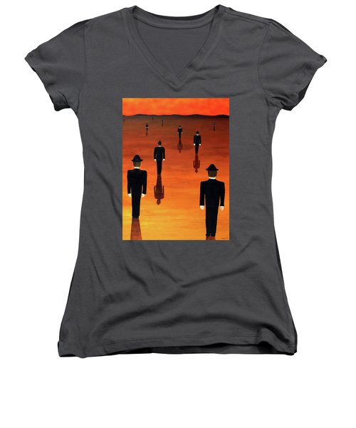 Agents Orange Women's V-Neck (Athletic Fit)