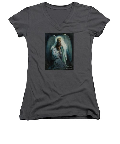 Agony In The Garden  Women's V-Neck T-Shirt (Junior Cut) by Frans Schwartz