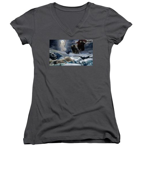 Ahasuerus At The End Of The World Women's V-Neck T-Shirt (Junior Cut) by Adolph Hiremy Hirschl