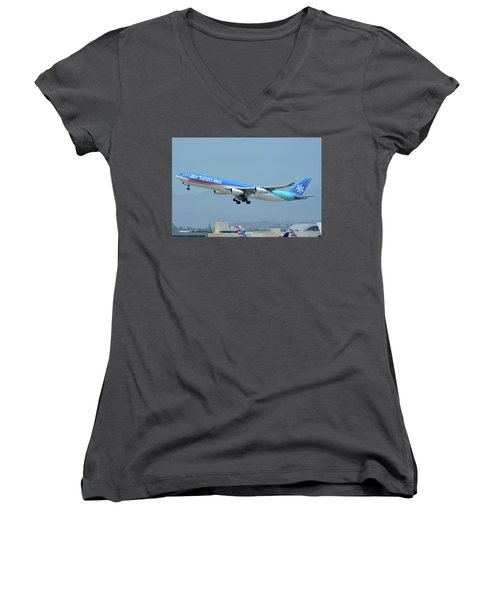 Women's V-Neck T-Shirt (Junior Cut) featuring the photograph Air Tahiti Nui Airbus A340-313x F-osea Los Angeles International Airport May 3 2016 by Brian Lockett