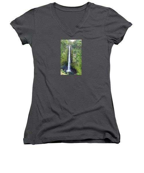 Women's V-Neck T-Shirt (Junior Cut) featuring the photograph Akaka Falls by Kerri Ligatich