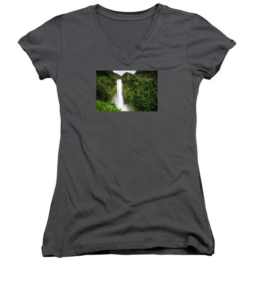 Akaka Falls Women's V-Neck T-Shirt (Junior Cut) by Ryan Manuel