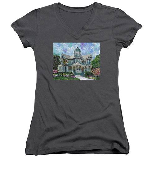 Women's V-Neck T-Shirt (Junior Cut) featuring the painting Alameda 1893  Queen Anne  by Linda Weinstock