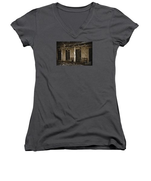 Women's V-Neck T-Shirt (Junior Cut) featuring the photograph Alamo Adobe by Kirt Tisdale