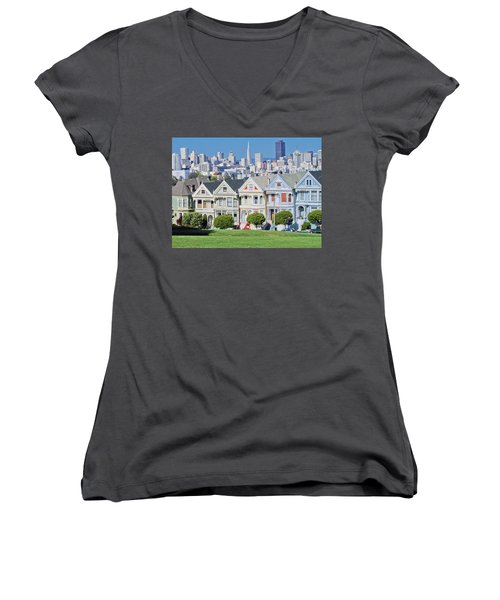 Women's V-Neck T-Shirt (Junior Cut) featuring the photograph Alamo Square by Matthew Bamberg