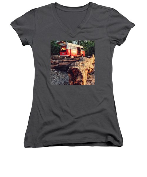 Alani By The River Women's V-Neck T-Shirt (Junior Cut) by Andrew Weills