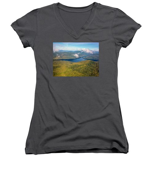 Women's V-Neck T-Shirt (Junior Cut) featuring the photograph Alaska Overview by Madeline Ellis