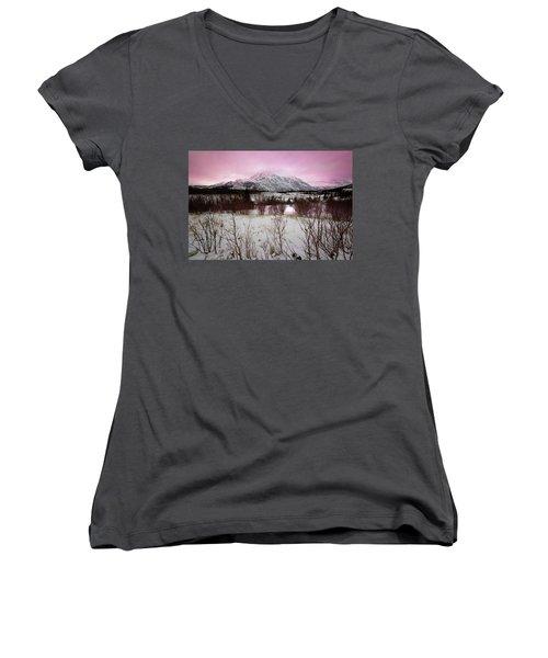 Alaska Range Pink Sky Women's V-Neck T-Shirt