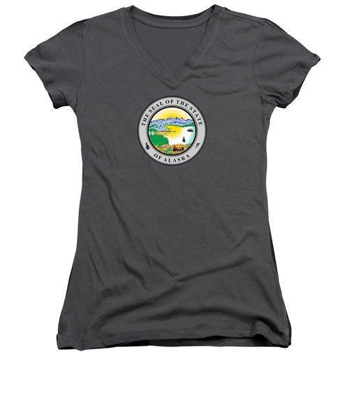 Alaska State Seal Women's V-Neck T-Shirt (Junior Cut) by Movie Poster Prints