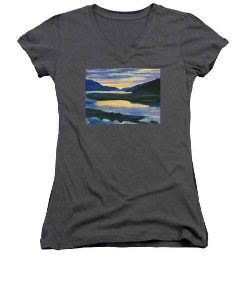Women's V-Neck T-Shirt featuring the painting Alaska Sunset, Juneau by Yulia Kazansky