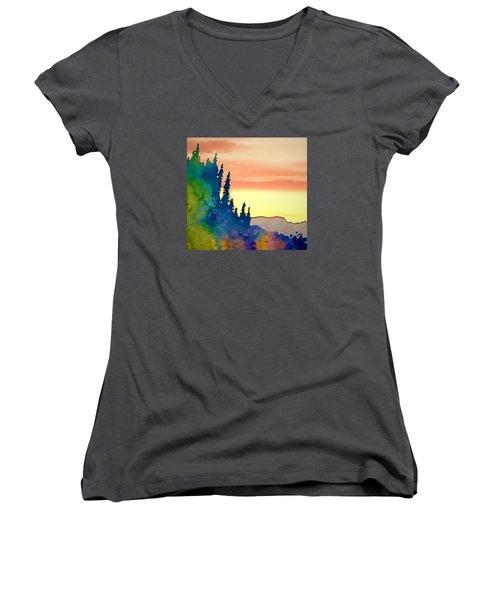 Alaskan Sunset Women's V-Neck T-Shirt (Junior Cut) by Jan Amiss Photography
