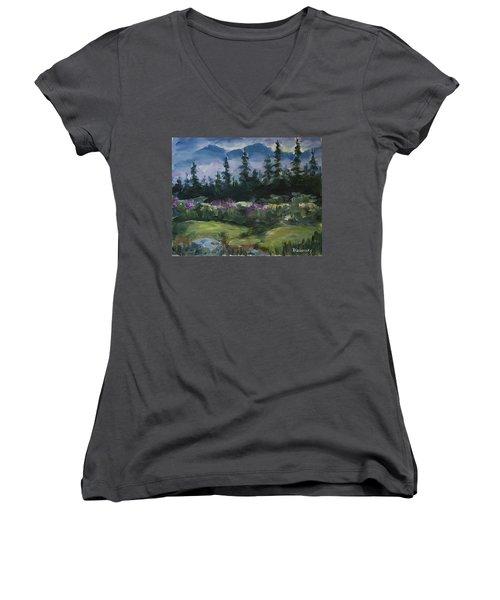 Women's V-Neck T-Shirt featuring the painting Alaskan Woods by Yulia Kazansky