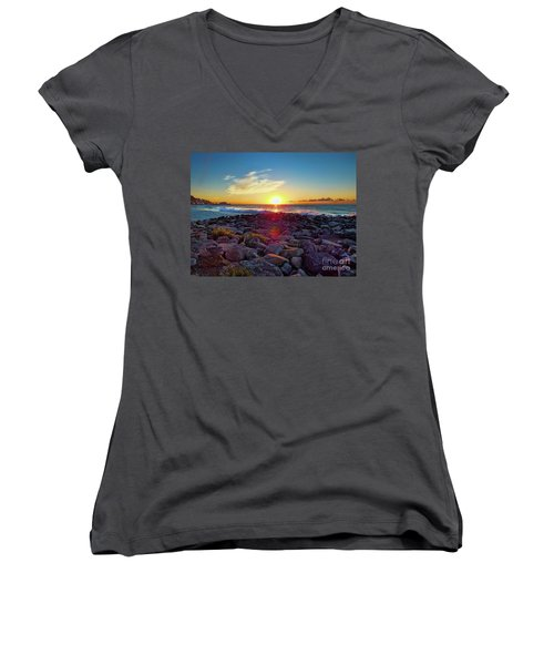 Alassio Sunset Women's V-Neck T-Shirt (Junior Cut) by Karen Lewis