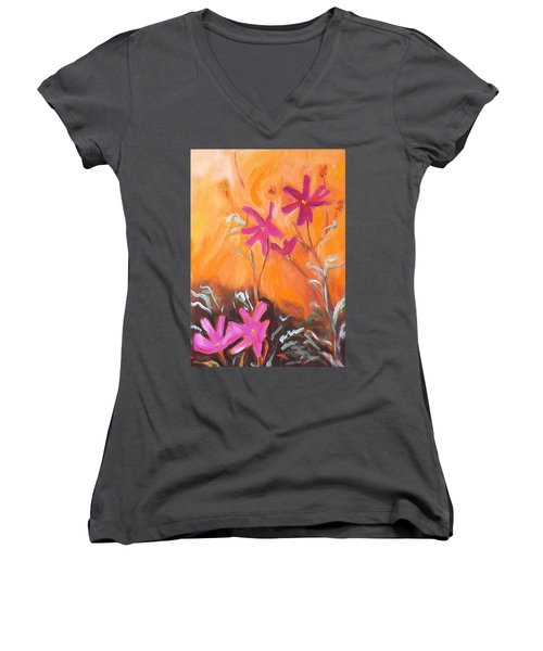 Women's V-Neck T-Shirt (Junior Cut) featuring the painting Alba Daisies by Winsome Gunning