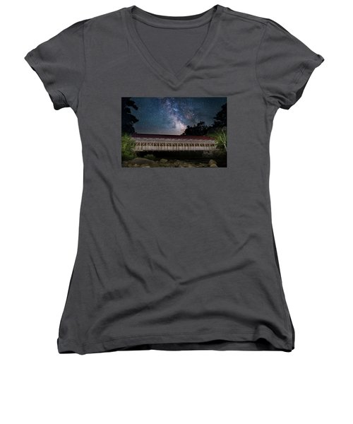 Albany Covered Bridge Under The Milky Way Women's V-Neck (Athletic Fit)