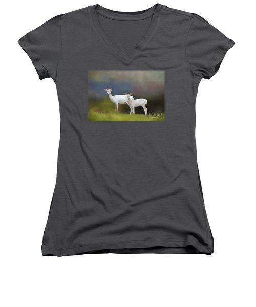 Albino Deer Women's V-Neck T-Shirt (Junior Cut) by Marion Johnson
