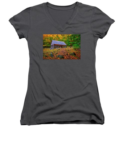 Alex Cole Cabin At Jim Bales Place, Roaring Fork Motor Trail In The Smoky Mountains Tennessee Women's V-Neck