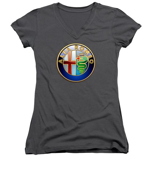 Alfa Romeo - 3d Badge On Red Women's V-Neck (Athletic Fit)