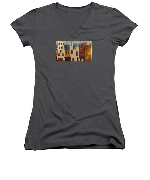 Women's V-Neck T-Shirt (Junior Cut) featuring the painting Algiers by Don Koester