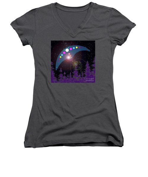Women's V-Neck T-Shirt (Junior Cut) featuring the painting Alien Skies by James Williamson