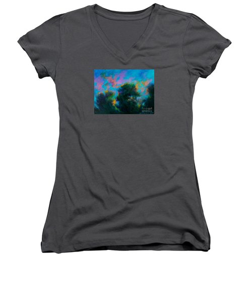 Women's V-Neck T-Shirt (Junior Cut) featuring the painting Alison's Dream Time  by Alison Caltrider