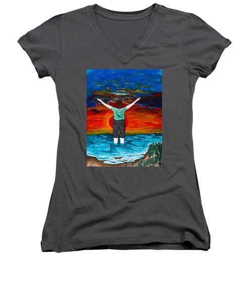 Alive Women's V-Neck T-Shirt (Junior Cut) by Cheryl Bailey