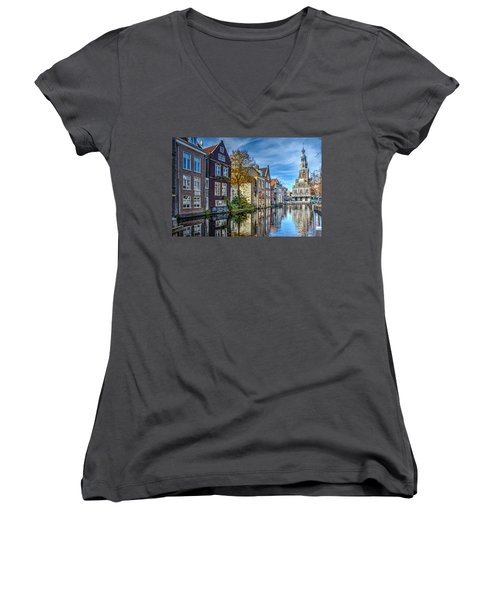 Alkmaar From The Bridge Women's V-Neck T-Shirt (Junior Cut) by Frans Blok