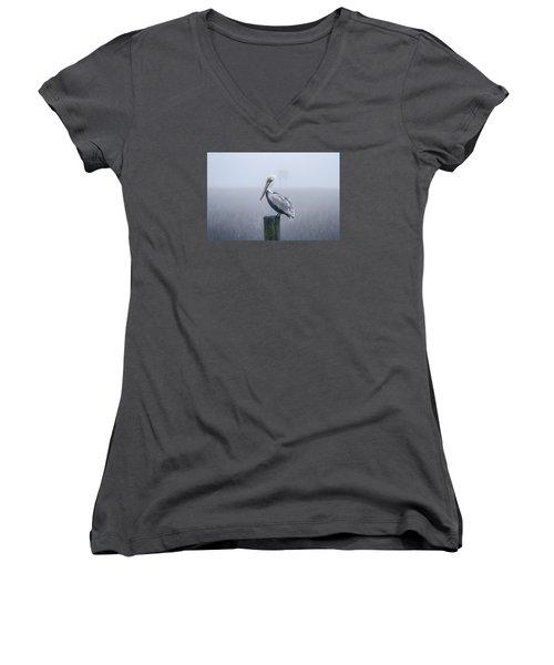 All Alone Women's V-Neck T-Shirt (Junior Cut) by Menachem Ganon