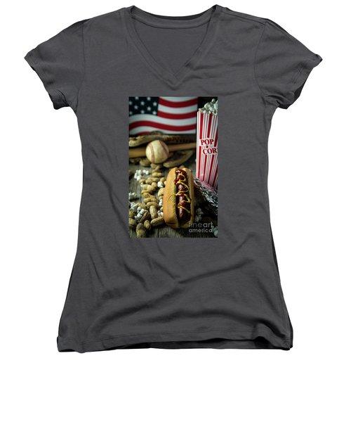 All American Baseball  Women's V-Neck T-Shirt