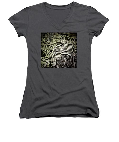 Women's V-Neck T-Shirt featuring the photograph All Piled Up by Lewis Mann