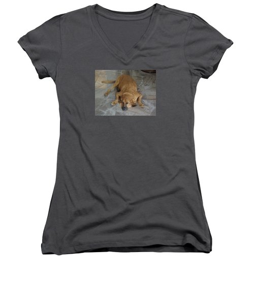 All Pooped Out Women's V-Neck T-Shirt (Junior Cut) by Val Oconnor